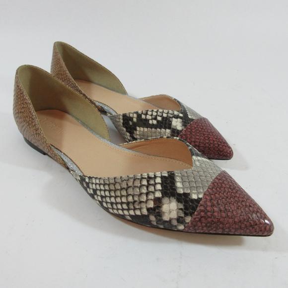 c597ca8d93f5 J. Crew Shoes - J Crew D Orsay Flats Leather Snake Skin Print